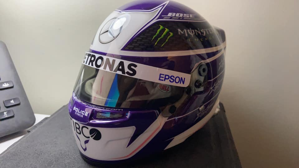 Our Lewis Hamilton replica helmet won by Simon Jessops when he entered our Car Competitions UK.